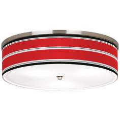 "Red Stripes Nickel 20 1/4"" Wide Ceiling Light"