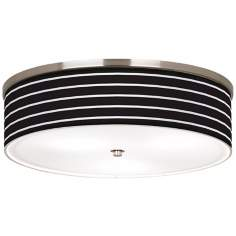 "Bold Black Stripe Nickel 20 1/4"" Wide Ceiling Light"