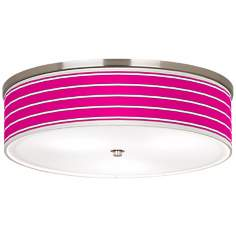 "Bold Pink Stripe Nickel 20 1/4"" Wide Ceiling Light"