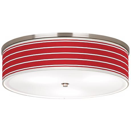 "Bold Red Stripes Nickel 20 1/4"" Wide Ceiling Light"