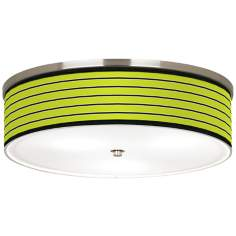 "Bold Lime Green Stripe Nickel 20 1/4"" Wide Ceiling Light"