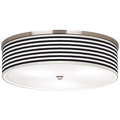 "Black Horizontal Stripe Nickel 20 1/4"" Wide Ceiling Light"