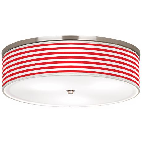 "Red Horizontal Stripe Nickel 20 1/4"" Wide Ceiling Light"