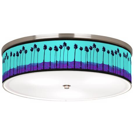"Palm Tree Haze Nickel 20 1/4"" Wide Ceiling Light"