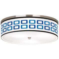 "Blue Rectangles Nickel 20 1/4"" Wide Ceiling Light"