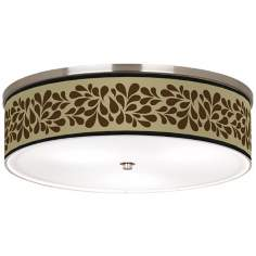 "Brown Splash on Tan Nickel 20 1/4"" Wide Ceiling Light"