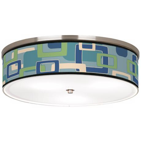 "Retro Rectangles Nickel 20 1/4"" Wide Ceiling Light"