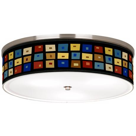 "Palette Squares Nickel 20 1/4"" Wide Ceiling Light"