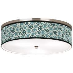 "Blue/Green Circlets Nickel 20 1/4"" Wide Ceiling Light"