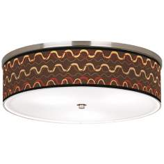 "Wave Stitch Nickel 20 1/4"" Wide Ceiling Light"