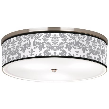 "Grey Flourish Nickel 20 1/4"" Wide Ceiling Light"