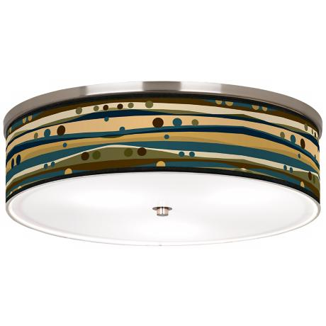 "Dots & Waves Nickel 20 1/4"" Wide Ceiling Light"