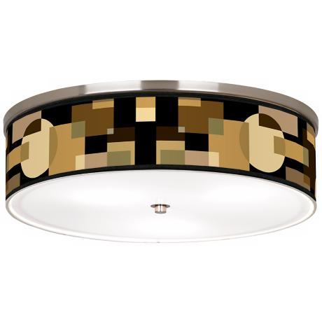"Earthy Geometrics Nickel 20 1/4"" Wide Ceiling Light"