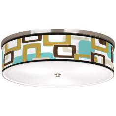 "Countess Retro Rectangles Nickel 20 1/4"" Wide Ceiling Light"