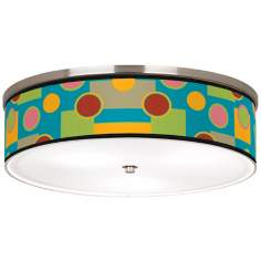 "Vibrant Retro Medley Nickel 20 1/4"" Wide Ceiling Light"