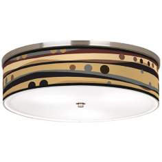 "Natural Dots & Waves Nickel 20 1/4"" Wide Ceiling Light"