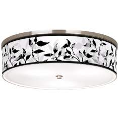 "Three-Tone Leaves Nickel 20 1/4"" Wide Ceiling Light"