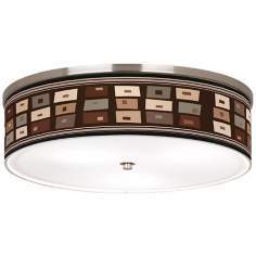 "Retro Rectangles Nickel 20 1/4"" Wide CFL Ceiling Light"