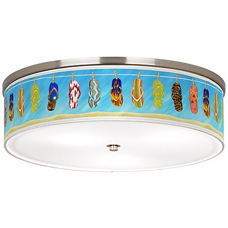 "Summer Flip-Flops Nickel 20 1/4"" Wide Ceiling Light"