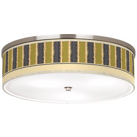 "Lexington Stripe Avocado Nickel 20 1/4"" Wide Ceiling Light"