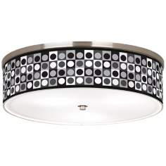 "Black and Grey Dotted Squares Nickel 20 1/4"" Ceiling Light"