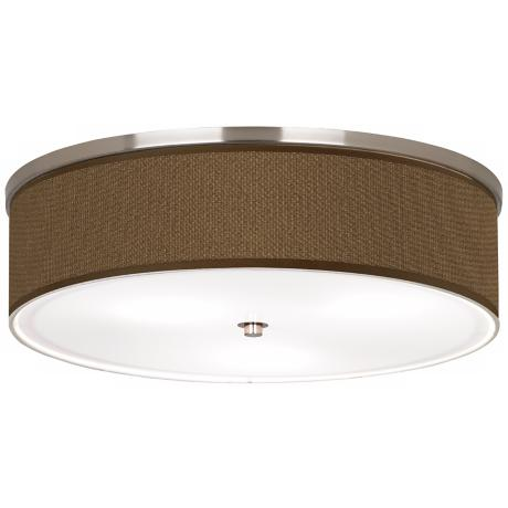 "Woven Wicker Nickel 20 1/4"" Wide Ceiling Light"