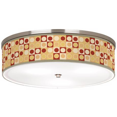 "Retro Dotted Squares Nickel 20 1/4"" Wide Ceiling Light"