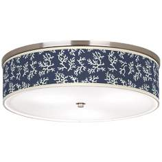 "Prussian Coral Nickel 20 1/4"" Wide Ceiling Light"