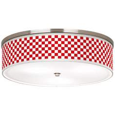 "Checkered Red Nickel 20 1/4"" Wide Ceiling Light"
