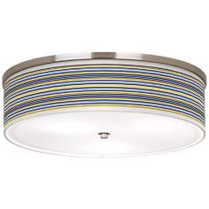 "Charleston Stripes Nickel 20 1/4"" Wide Ceiling Light"