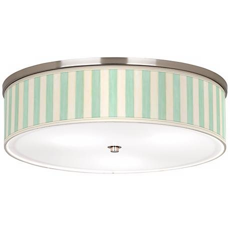 "Seaside Stripe Green Nickel 20 1/4"" Wide Ceiling Light"