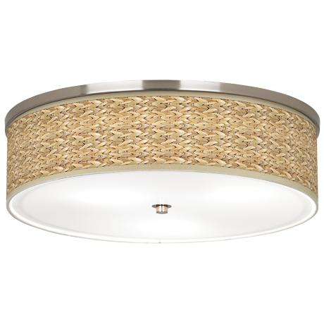 "Seagrass Giclee Nickel 20 1/4"" Wide Ceiling Light"