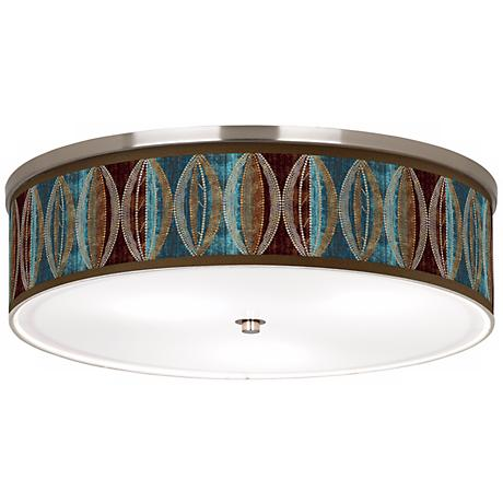 "Stacy Garcia Pearl Leaf Peacock Nickel 20 1/4"" Ceiling Light"
