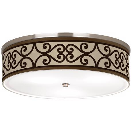 "Cambria Scroll Nickel 20 1/4"" Wide Ceiling Light"