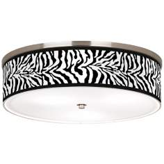 "Safari Zebra Giclee Nickel 20 1/4"" Wide Ceiling Light"