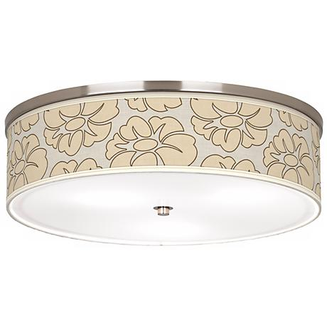 "Floral Silhouette 20 1/4"" Wide CFL Nickel Ceiling Light"