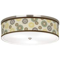 "Ornaments Linen Giclee Nickel 20 1/4"" Wide CFL Ceiling Light"
