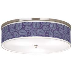 "Purple Paisley Linen Giclee 20 1/4"" Wide Ceiling Light"