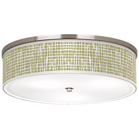 "Ecru Screen Linen Nickel 20 1/4"" Wide Ceiling Light"