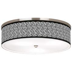 "Greek Key Giclee Nickel 20 1/4"" Wide Ceiling Light"