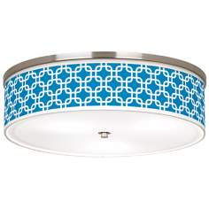 "Blue Lattice Giclee Nickel 20 1/4"" Wide Ceiling Light"