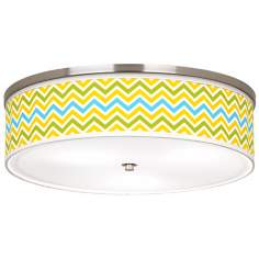 "Citrus Zig Zag Giclee Nickel 20 1/4"" Wide Ceiling Light"
