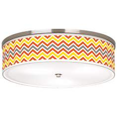 "Flame Zig Zag Giclee Nickel 20 1/4"" Wide Ceiling Light"