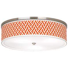"Red Brick Weave Giclee Nickel 20 1/4"" Wide Ceiling Light"
