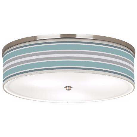 "Multi Color Stripes Giclee Nickel 20 1/4"" Wide Ceiling Light"