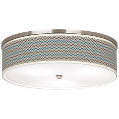 "Zig Zag Nickel 20 1/4"" Wide Ceiling Light"