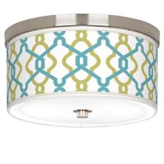 "Hyper Links Giclee Nickel 10 1/4"" Wide Ceiling Light"