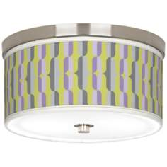 "Side By Side Giclee Nickel 10 1/4"" Wide Ceiling Light"