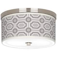 "Luxe Tile Giclee Nickel 10 1/4"" Wide Ceiling Light"