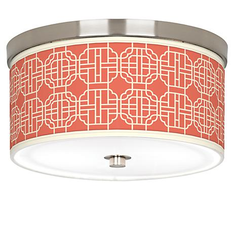 "Mandarin Giclee Nickel 10 1/4"" Wide Ceiling Light"